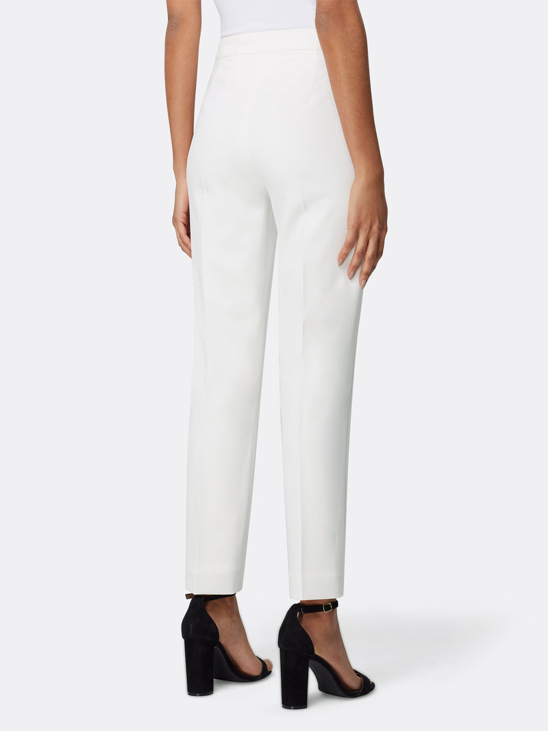 Back View of Women's Luxury White Slim Leg Dress Pant by Tahari ASL Ivory