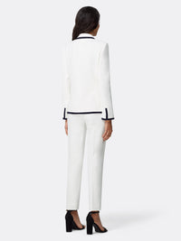 Back View of Women's Luxury Jacket and Pant Set Black and White by Tahari ASL Ivory