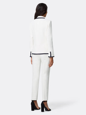 Back View of Women's Luxury Jacket and Pant Set Black and White by Tahari ASL