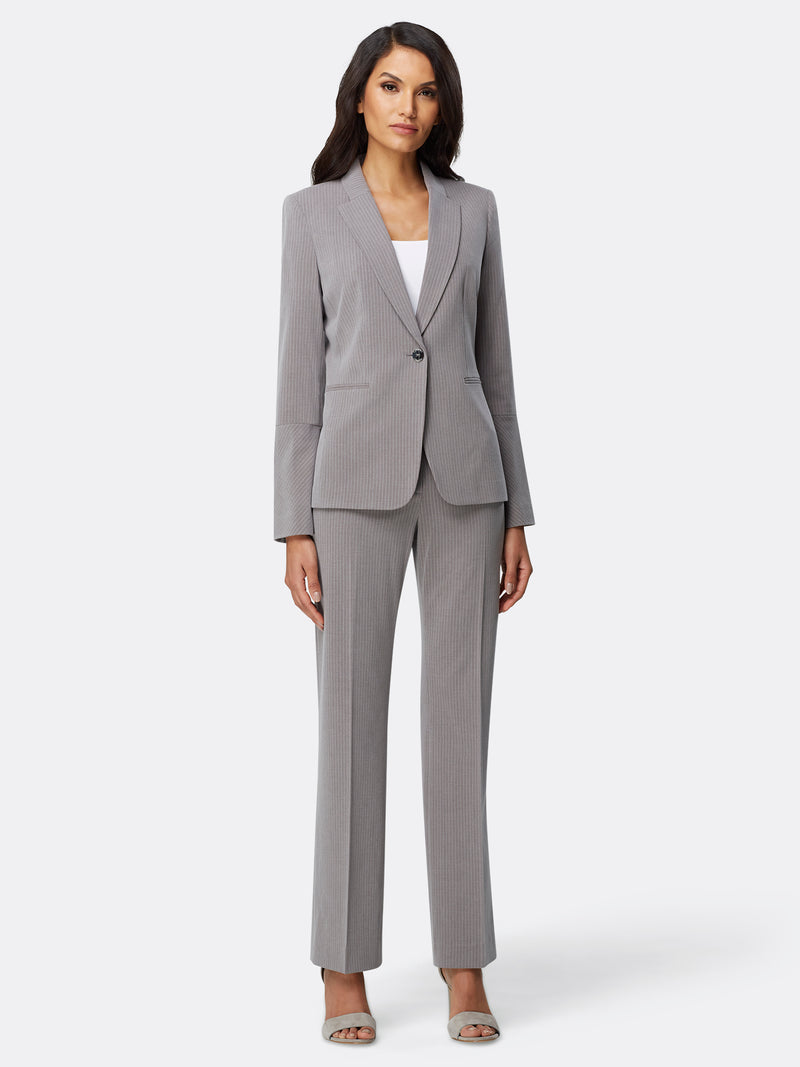 Bell-Sleeve Pinstriped Pantsuit