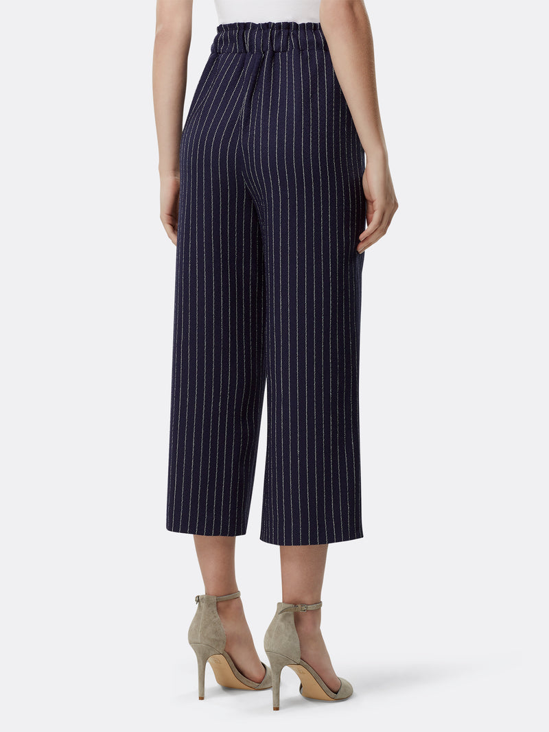 Wide-Leg Cropped Pinstriped Pants