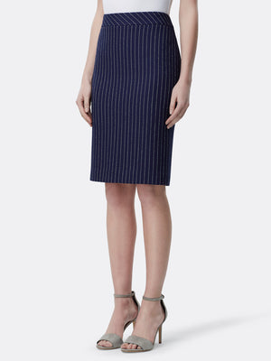 Pinstriped Pebble Crepe Pencil Skirt