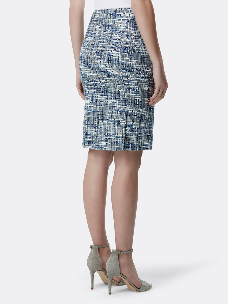 Back View of Women's Designer Double Back Vent Skirt by Tahari ASL Blue Multi Boucle