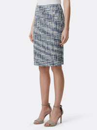 Front View of Women's Designer Double Back Vent Skirt by Tahari ASL Blue Multi Boucle