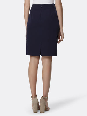 Back View of the Luxury Navy Pencil Replenishment Skirt Navy