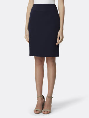 Front View of the Luxury Navy Pencil Replenishment Skirt Navy