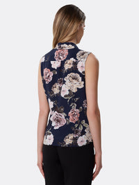 Back View of Women's Designer Sleeveless Blouse with Low Bow by Tahari ASL