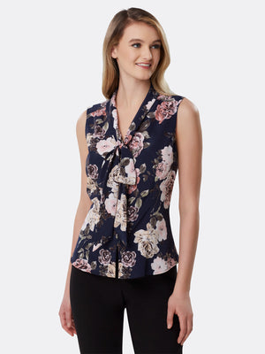 Front View of Women's Designer Sleeveless Blouse with Low Bow by Tahari ASL