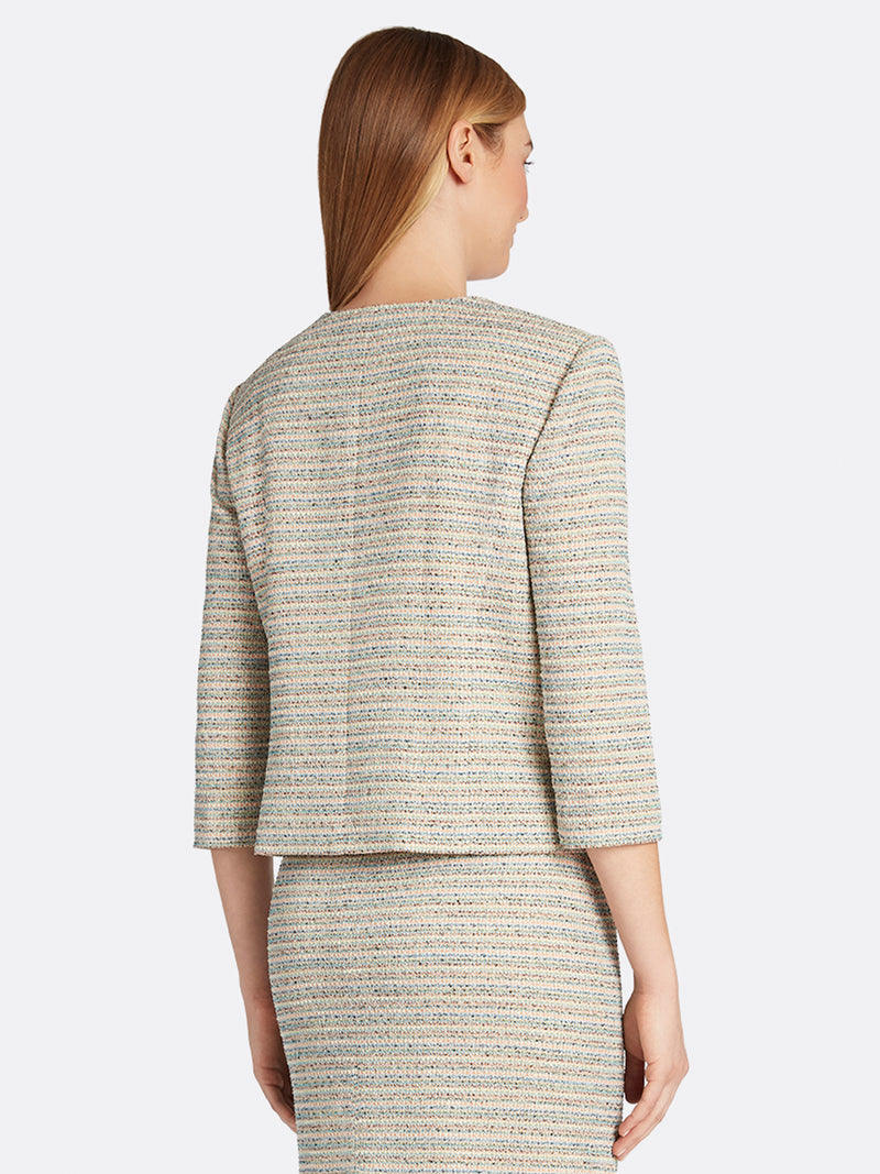 Metallic Bouclé Knit Crop Jacket