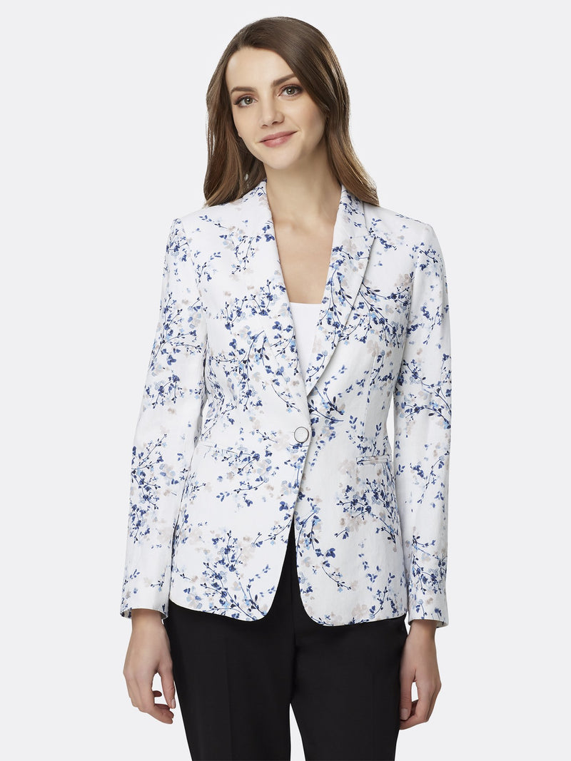 Front View of Women's Luxury One Button Jacket Peak Lapel by Tahari ASL