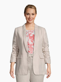 Front View of Women's Luxury Rouched Sleeve Jacket by Tahari ASL