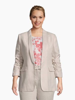Front View of Women's Luxury Rouched Sleeve Jacket by Tahari ASL Light Natural