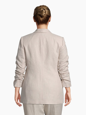 Back View of Women's Luxury Rouched Sleeve Jacket by Tahari ASL Light Natural