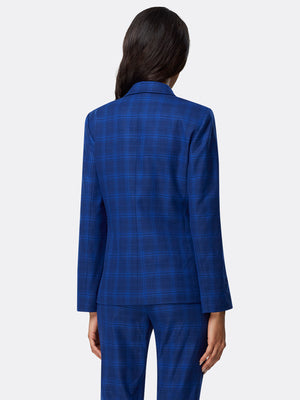 Textured Plaid Two-Button Jacket