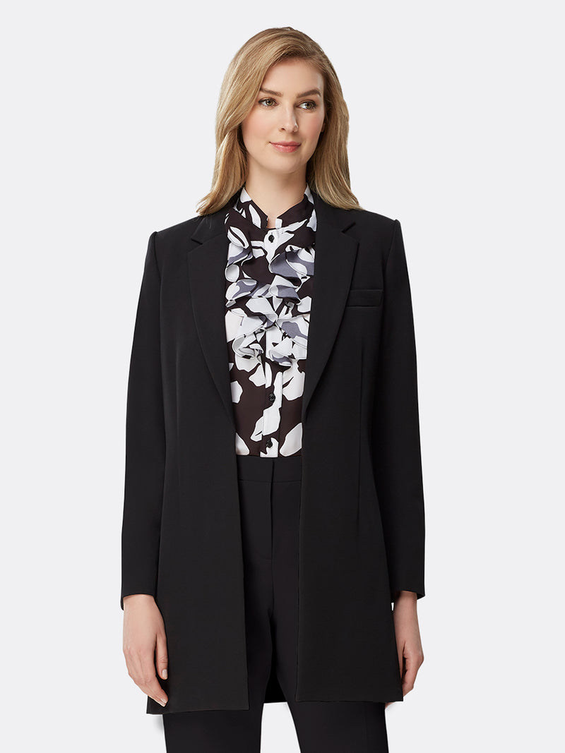 Front View of Women's Designer Notch Collar Black Topper Jacket by Tahari ASL Black