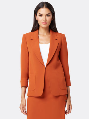 Front View of Women's Easy Notch Collar Jacket with Patch Pockets | Tahari ASL Orange Spice