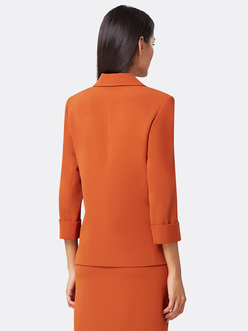 Back View of Women's Easy Notch Collar Jacket with Patch Pockets | Tahari ASL Orange Spice