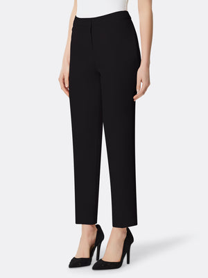 Front View of Women's Designer Slim Leg Pant with Back Pocket by Tahari ASL Black