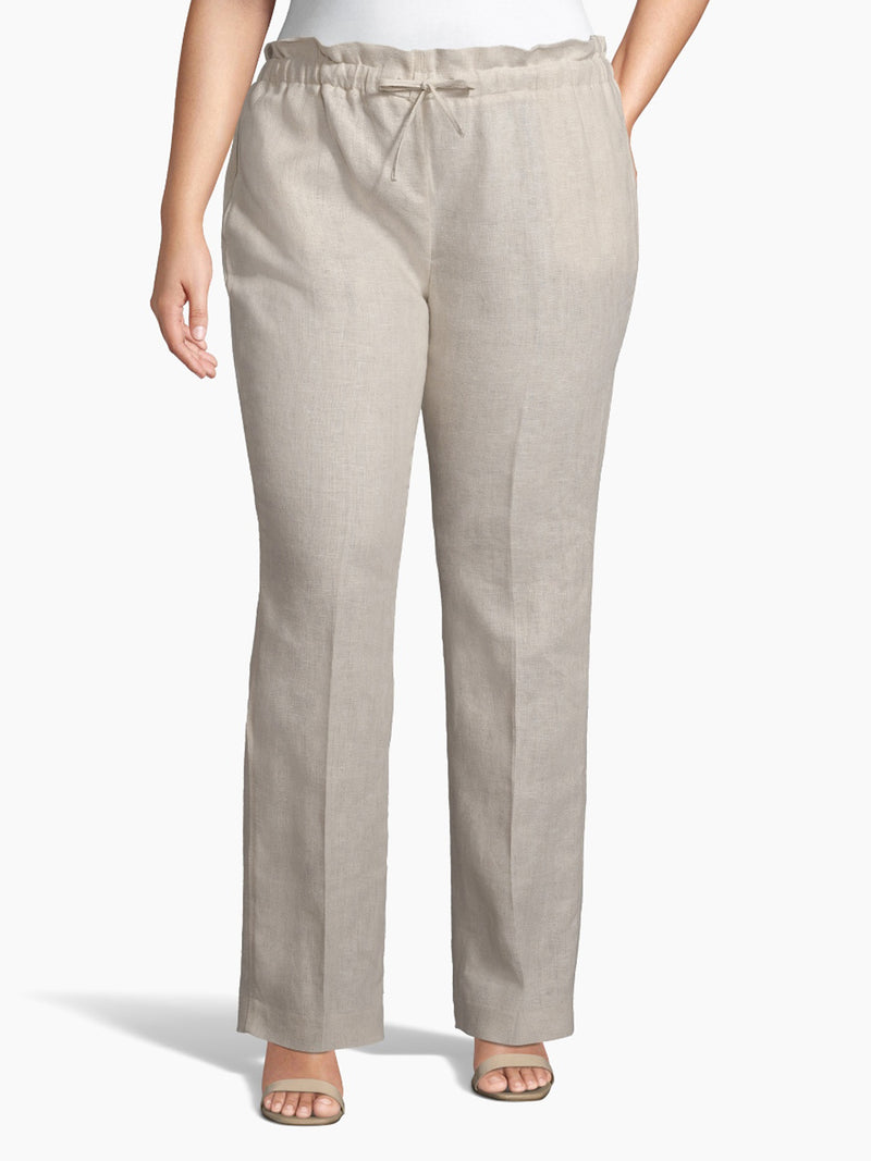 Front View of Women's Luxury Dress Pant with Self Tie Wide Led by Tahari ASL