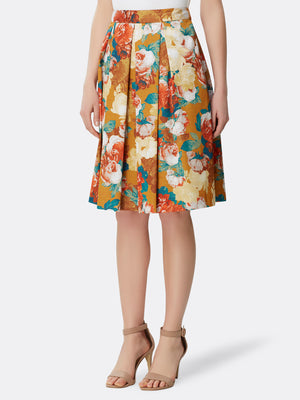 Floral Charmeuse Inverted Pleat Skirt