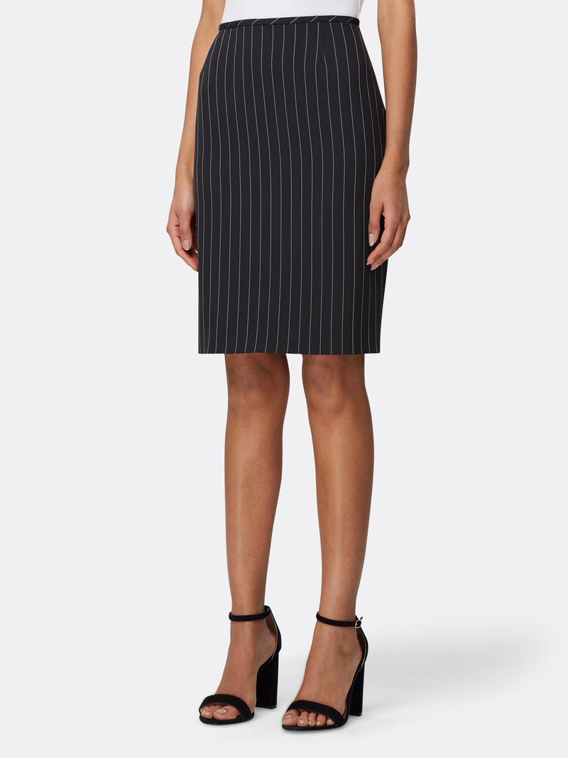 Front View of Women's Designer Black White Stripe Pencil Skirt by Tahari ASL Black White Chalk Stripe