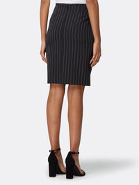 Back View of Women's Designer Black White Stripe Pencil Skirt by Tahari ASL Black White Chalk Stripe