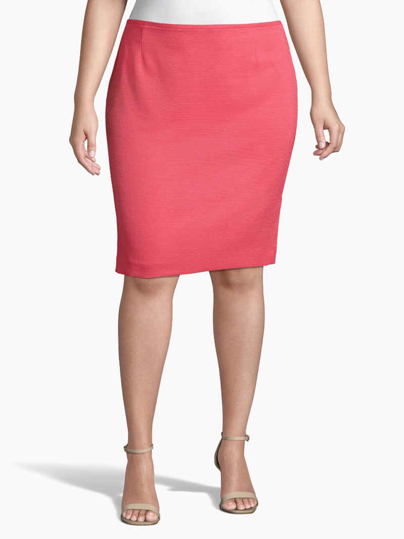 Front View of Women's Designer Pink Pencil Skirt  by Tahari ASL New Coral