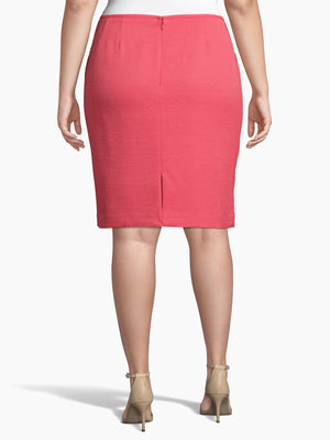 Back View of Women's Designer Pink Pencil Skirt  by Tahari ASL New Coral