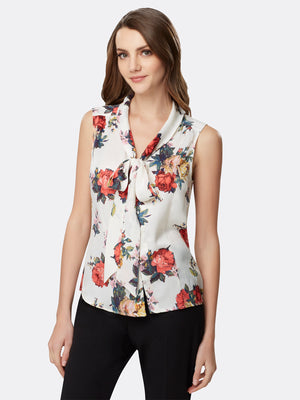 Rose Print Low Bow Blouse
