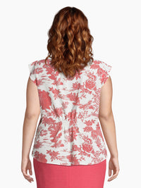 Country Toile Print Pleat-Front Top