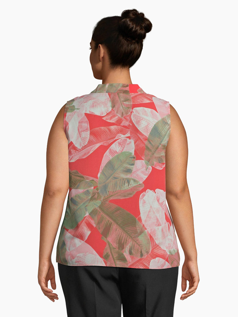 Leaf Print V-Neck Crinkled Blouse