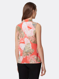 Back View of Women's Luxury Sleeveless Top with V Neck by Tahari ASL Coral Leaves