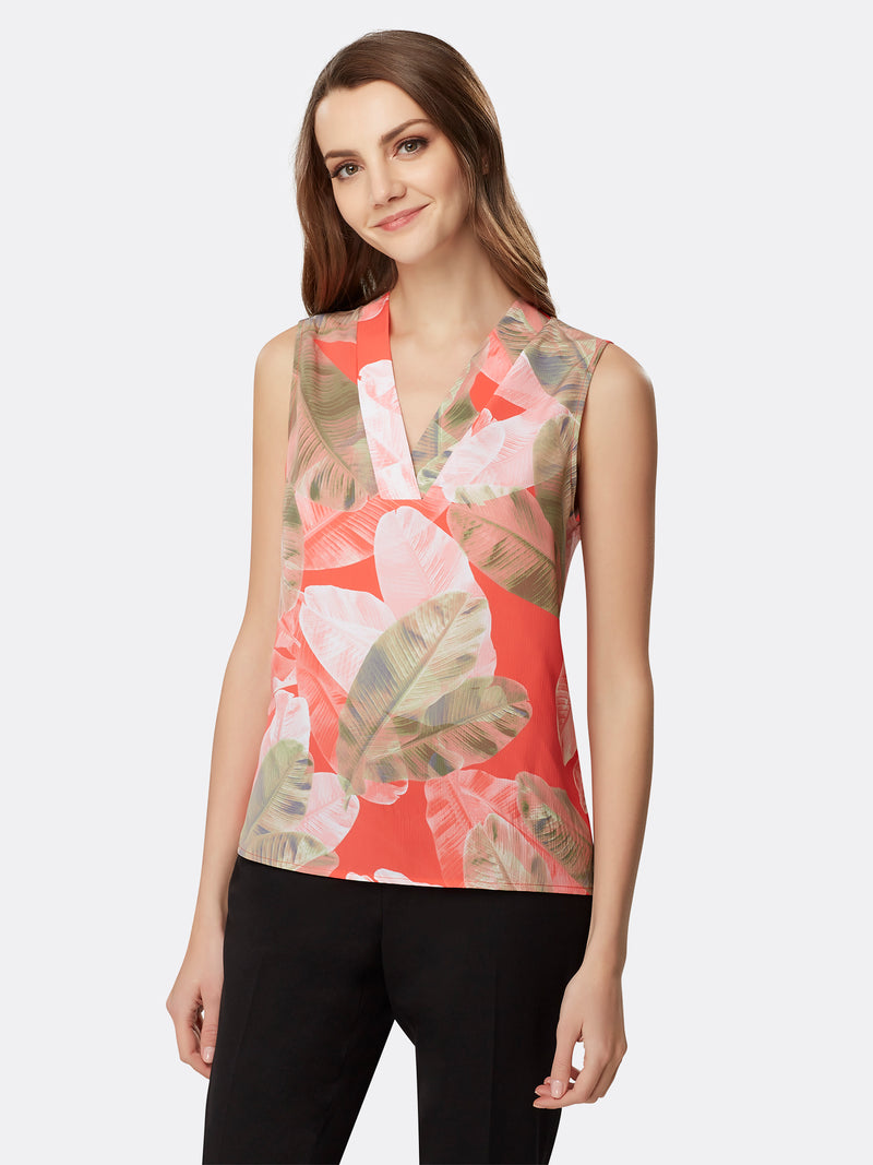 Front View of Women's Luxury Sleeveless Top with V Neck by Tahari ASL Coral Leaves