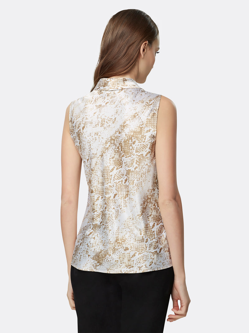 Back View of Women's Luxury Sleeveless Blouse with Double Sash by Tahari ASL Neutral Snake