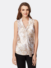 Front View of Women's Luxury Sleeveless Blouse with Double Sash by Tahari ASL Neutral Snake