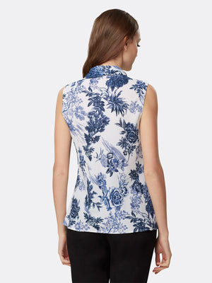 Back View of Women's Designer Sleeveless Top with Double Sash by Tahari ASL Navy Country Toile