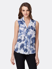 Front View of Women's Designer Sleeveless Top with Double Sash by Tahari ASL Navy Country Toile