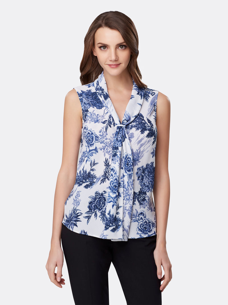 Front View of Women's Designer Sleeveless Top with Double Sash by Tahari ASL