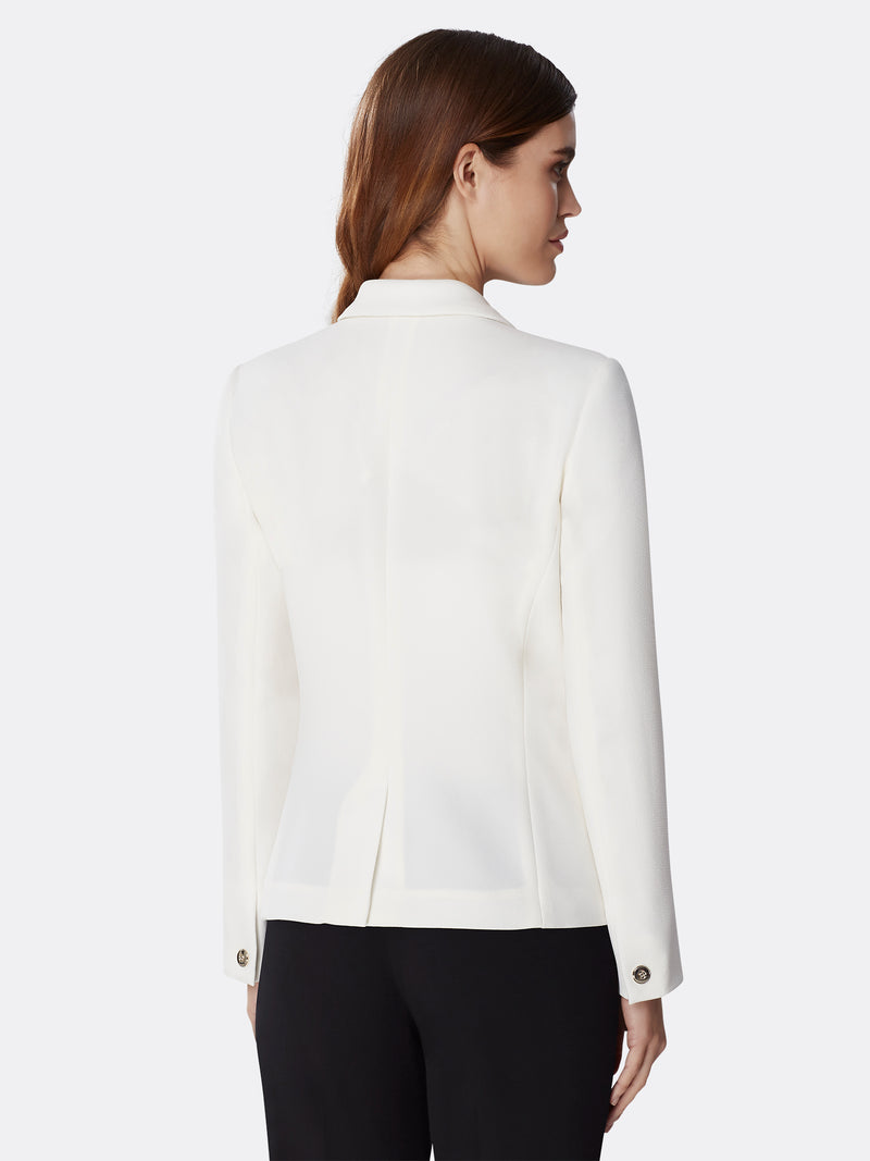Back View of Women's Designer Half Lined Basic Jacket by Tahari ASL Ivory