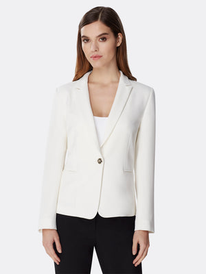 Front View of Women's Designer Half Lined Basic Jacket by Tahari ASL Ivory
