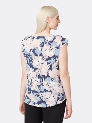 Rose Print Georgette Pleat-Front Top