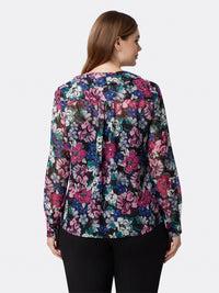 Back View of Women's Designer Long Sleeve Floral Blouse | Tahari ASL