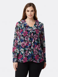 Front View of Women's Designer Long Sleeve Floral Blouse | Tahari ASL