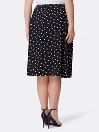 Dotted Inverted-Pleat Midi Skirt