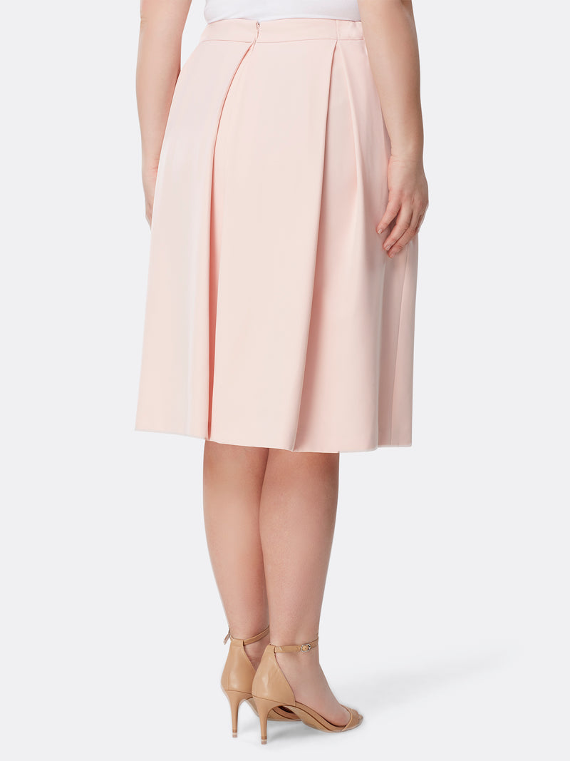 Inverted Pleat Double-Weave Midi Skirt
