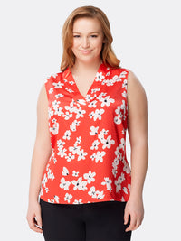 Front View of Women's Designer V Neck Sleeveless Floral Top by Tahari ASL