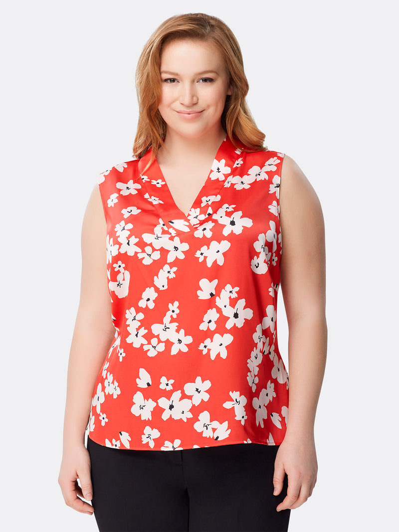 Front View of Women's Designer V Neck Sleeveless Floral Top by Tahari ASL DAISY FLRL TOMATO