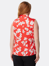 Back View of Women's Designer V Neck Sleeveless Floral Top by Tahari ASL