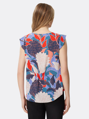 Tropical Floral Flutter Sleeve Top