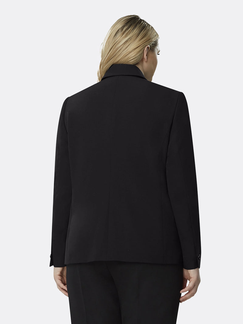 Back View of Tahari ASL's One Button Flap Jacket in Black BLACK